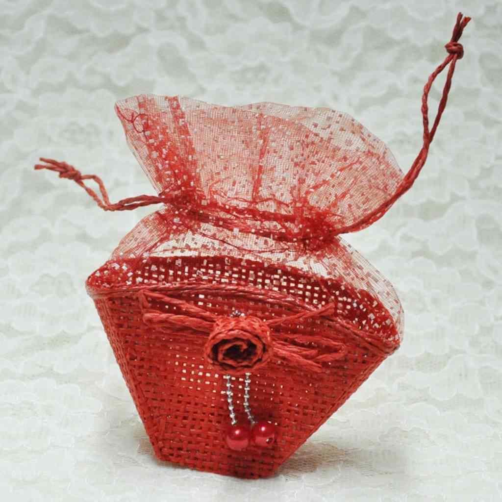 Kırmızı Tüllü Hasır Sepet 12 Adet