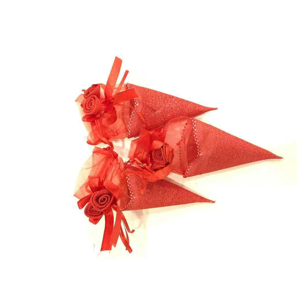 Hasır Külah Çerez Kesesi Kırmızı 15 cm 12 Adet