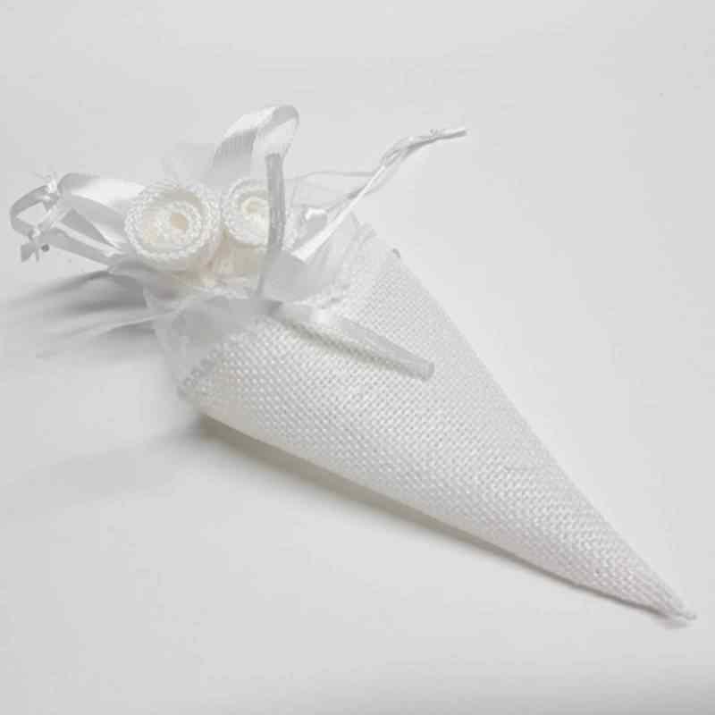 Hasır Külah Çerez Kesesi Beyaz 15 cm 12 Adet